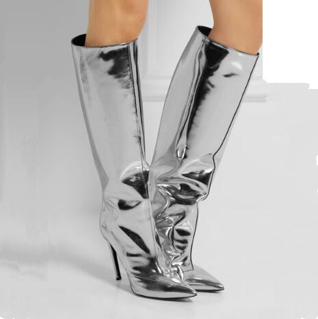 New Fashion Silver Patent Leather Boots Fall Designer Pointed Toe