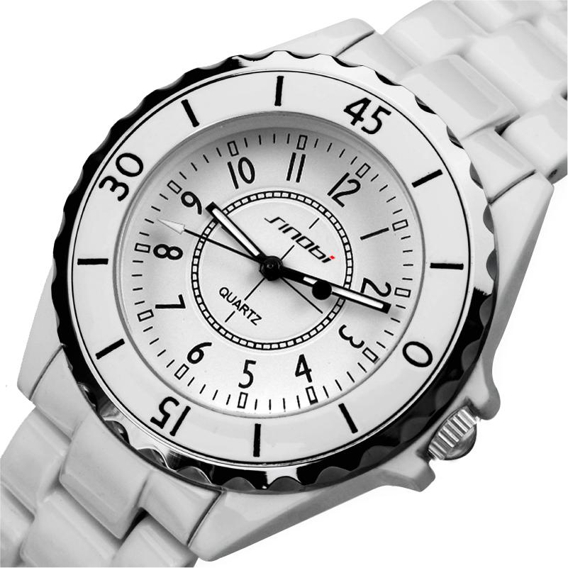 Prix pour 2016 Sinobi marque de mode femmes hommes dames montre-bracelet de luxe robe élégante Analogique Quartz Montre blanc relogios femininos relojes
