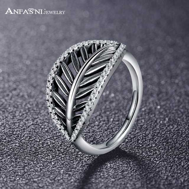'Sterling Silver Feather Motif Band Ring jqcXct