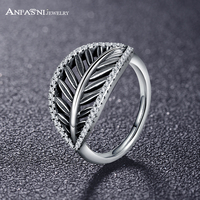 ANFASNI New Design Real 925 Sterling Silver Feather Ring Stunning Clear Cubic Zirconia Women Engagement Gift