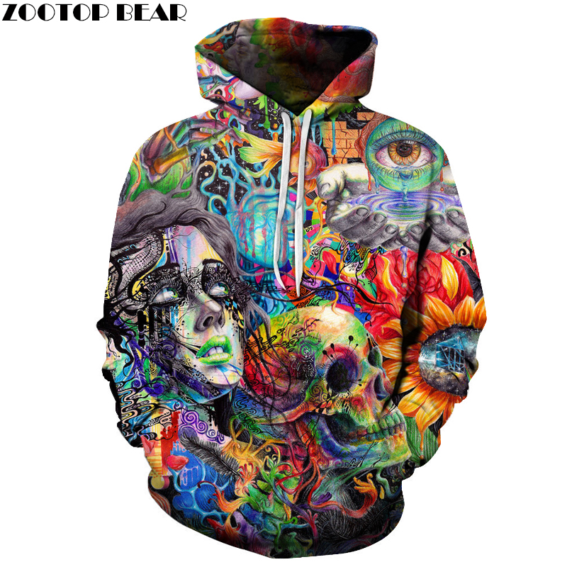 Paint Skull 3D Printed Hoodies Men Women Sweatshirts Hooded Pullover Brand 6xl Quality Tracksuits Boy Coats Fashion Outwear New