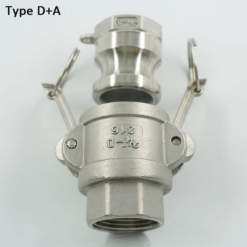 """1/2"""" to 2"""" Type D+A SS304 Female Coupler Adapter  Stianless Steel Quick Camlock Disconnection Coupling BSPT Female thread"""