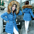 2017 Inverno Grande outerwear para baixo de algodão jaqueta feminina plus size médio-longo casaco grande gola de pele de moda casual Barato atacado