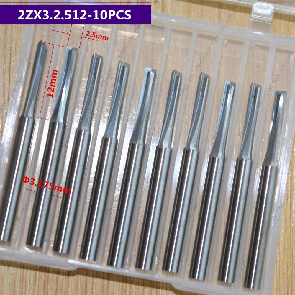 3.175mm * 2.5mm * 12mm, 10 pz, Trasporto libero 2 flauti Dritti Bit, CNC macchina fresa, Solid carburo di utensili di legno, PVC, MDF, Acrilico
