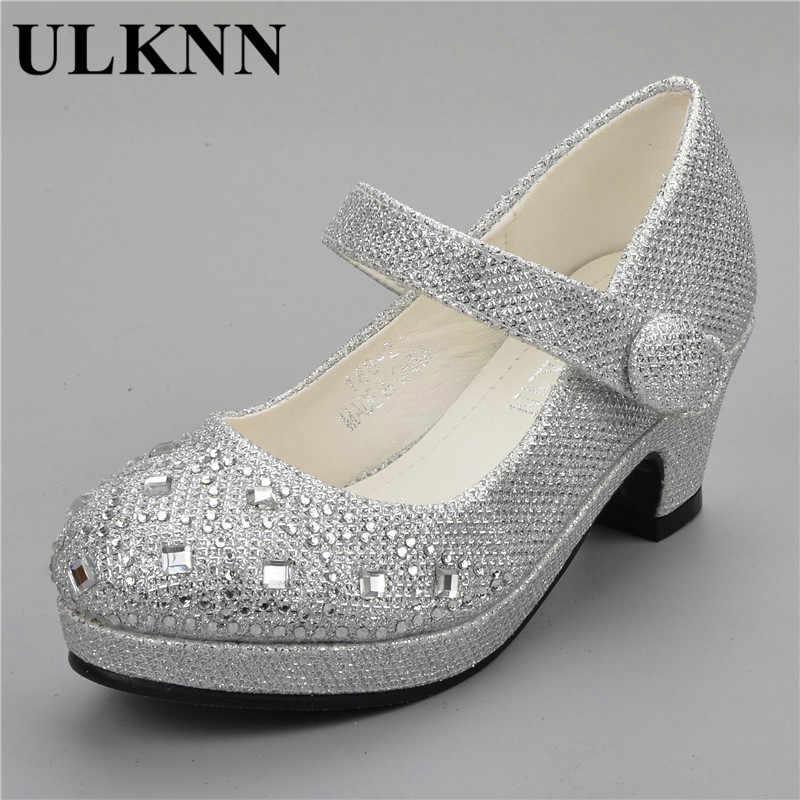 39b70edb4 ... ULKNN 2019 sandalias para niños niñas rhinestone tacón alto boda zapatos  de fiesta de princesa bebé ...