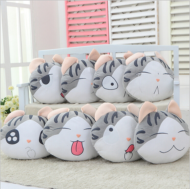 1pcs 37*33cm chi`s sweet home cheese cat pillow of small, private, sweet cat/rice ball stuffed cat pillow cushion for leaning