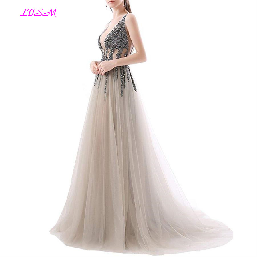 Luxury Beaded Evening Dress Sexy Deep V-neck Sequins Tulle Prom Dress Long Sleeveless Champagne Formal Party Gown robe de soiree