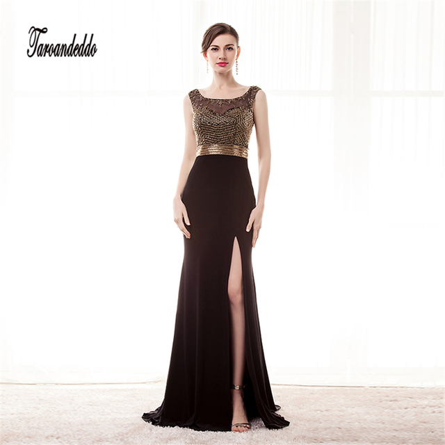 New Arrival Gold Beaded Prom Dresses 2017 Evening Gowns Long Black