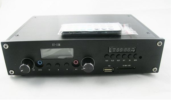ST-15M 15W Broadcast Radio FM radio Transmitter PLL 88-108MHz  with MP3 player function + Antenna with cable + Power adapter