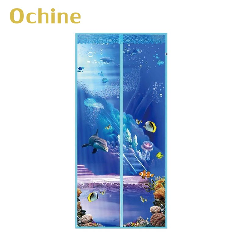 20 Styles Anti Mosquito Curtain Net Magnetic Screen Door Cartoon Pattern Printed Magnetic Strips Automatically Shut Mesh Curtain
