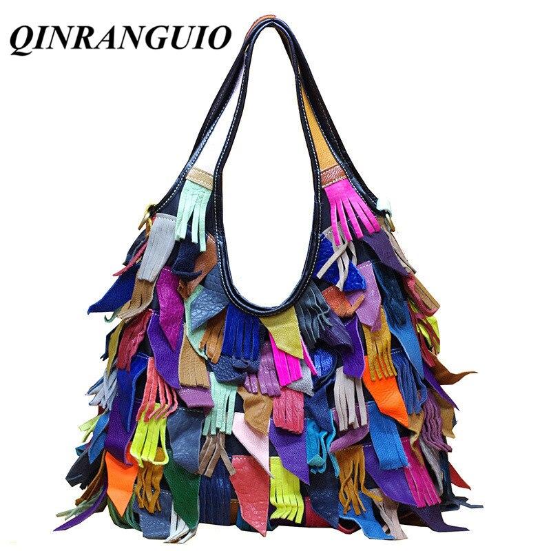 QINRANGUIO Women Bag Genuine Leather Women Handbag 100 Cow Leather Crossbody Bags for Women Full Tassel