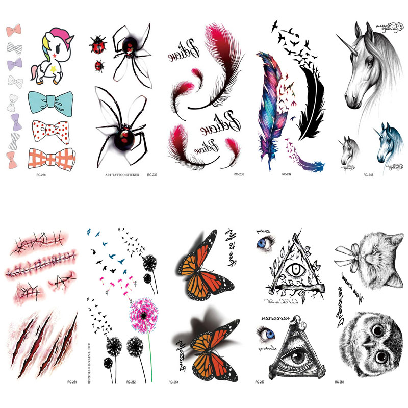 BEST Fran fansF new 2 pcs set lovely Waterproof Temporary Tattoo Halloween Realistic Blood Injury Scar Feather for body Fake Ta