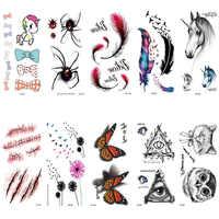 MIGLIOR Fran fansF nuovo 2 pz set bella Impermeabile Temporanea tatuaggio Cicatrice Piuma Pregiudizio per il corpo Halloween Sangue Realistico Falso Ta