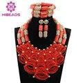 Abalorios de lujo de Nigeria Coral Perlas de la Boda para Las Novias de la Reina CNR784 Fiesta Nupcial Joyería Africana Fija el Oro Plateó El Envío Libre