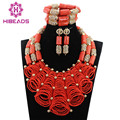 Luxury Nigerian Wedding Coral Beads for Brides Queen Bridal Party African Jewelry Sets Gold Plated Free Shipping CNR784