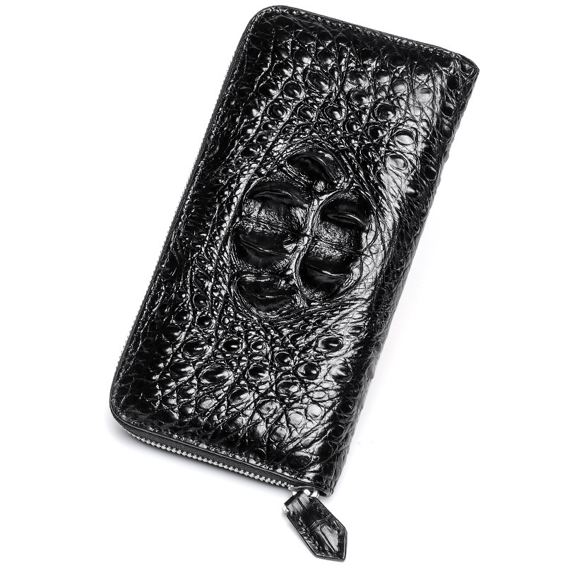 2018 Fashion Real Crocodile Pattern Coin Purses Card Holder Genuine Leather Men Long Wallets Men s
