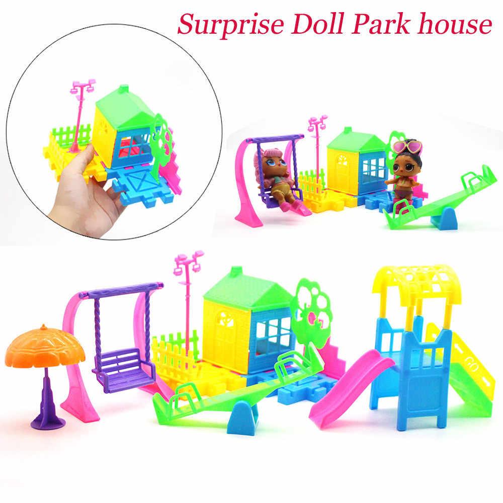 Park House เกมประณีตสไลด์สนุก Playset เด็กเด็กผู้หญิงของขวัญของเล่นสำหรับ LOL Surprise ตุ๊กตาวันเกิดของขวัญของเล่นสำหรับเด็ก