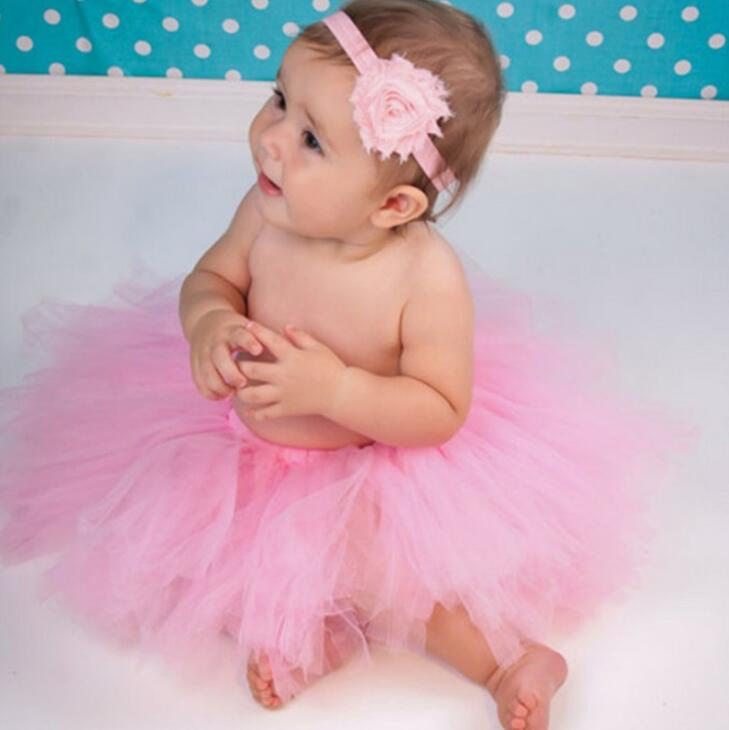 Fashion Girls Tutu Dresses For Baptism Birthday Outfit Halloween Costume Baby Girl With Flower Headband Pink Tutu Baby Dresses