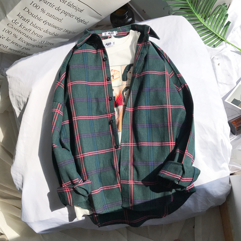 2018 Women Fashion Brand Autumn Korea BF Style Ulzzang Vintage Simple Plaid Long Sleeve Shirt Female Casual Loose Lovers Shirt Рубашка
