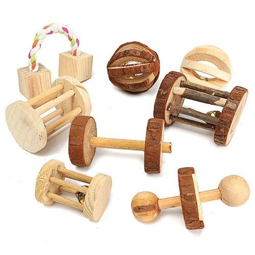 Натурального дерева мини упражнения ПЭТ жевать игрушки уход за зубами игрушка для прорезывания зубов для кролик Шиншилла домашнее животное хомяк