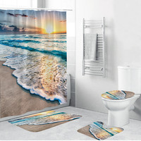 2019 New 4PCS Non Slip Toilet Polyester Cover Mat Set Bathroom Shower Curtain Home Decoration Bathroom Accessaries Drop Shipping