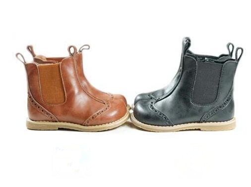 Genuine Leather Retro Girls and Boots Fashion Children Chelsea Boots Spring Autumn New style kids shoes Breathable 1-6T
