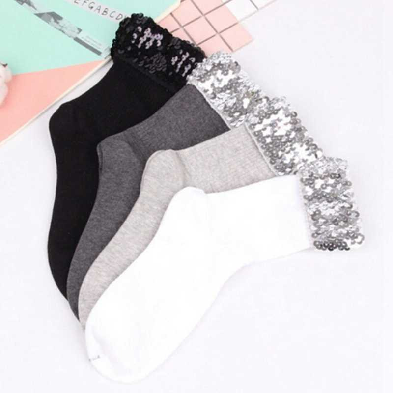 Fashion Fall Winter Original Design New women's Socks High Quality Handmade Sequins Solid Color Socks For Female
