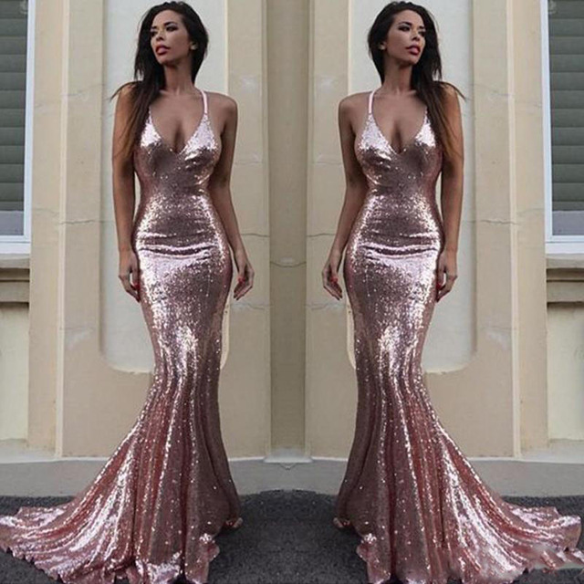 e6dda806d41 Rose Gold Sequin Mermaid Prom Gowns Sexy V Neck Spaghetti Straps Backless Evening  Gowns Criss Cross Back Special Occasion Dress