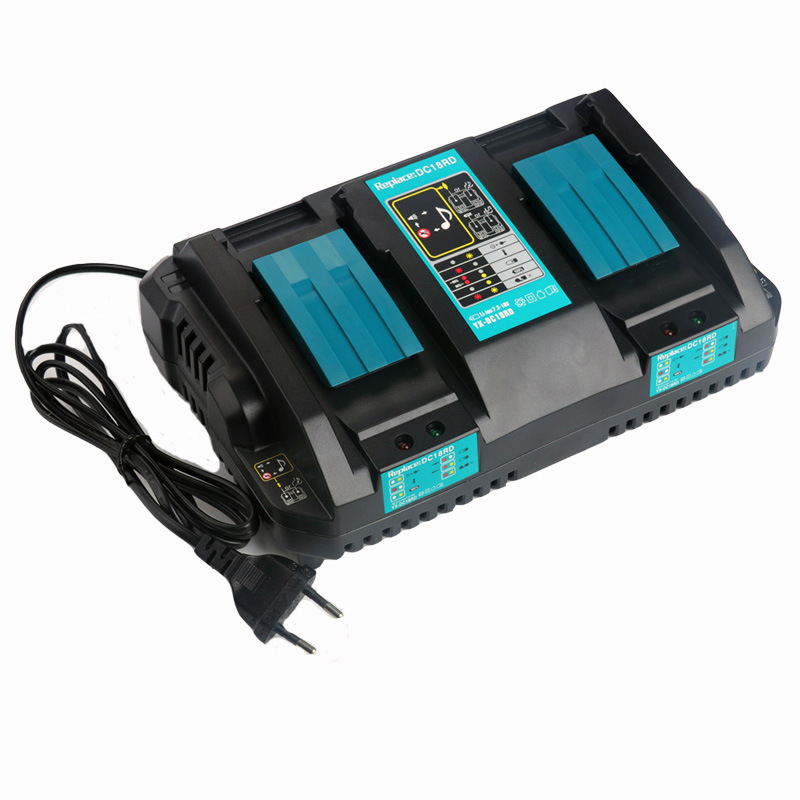 New Replacement Power Tool Battery Lithium ion Dual Port Fast Optimized 4A Output Charger For Makita BL1415 BL1430 BL1840 BL1830New Replacement Power Tool Battery Lithium ion Dual Port Fast Optimized 4A Output Charger For Makita BL1415 BL1430 BL1840 BL1830