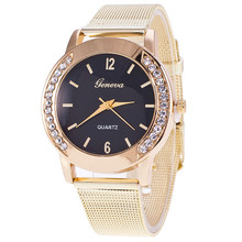New Fashion Gold Mesh Geneva Quartz Watch Women Metal Stainless Steel Dress Watches Relogio Feminino Gift Clock 1887