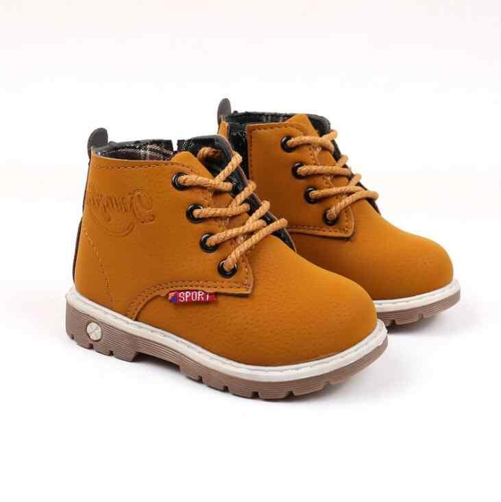 Boyutu 21-30 çocuk çizmeleri sonbahar kış bağcıklı Martin çizmeler kalınlaşmak kürk ayakkabı kaymaz su geçirmez Unisex erkek kız çizmeler #7JX0130