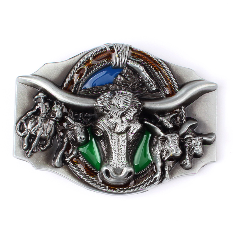 A Cow Color Belt Buckle Suitable For 3.8 CM Belt