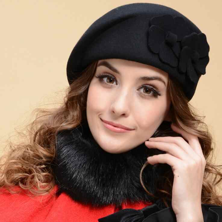 98b6a2e54a7ad ... 100% wool beret winter berets women winter felt beret Floral Women Felt French  Beret Beanie ...