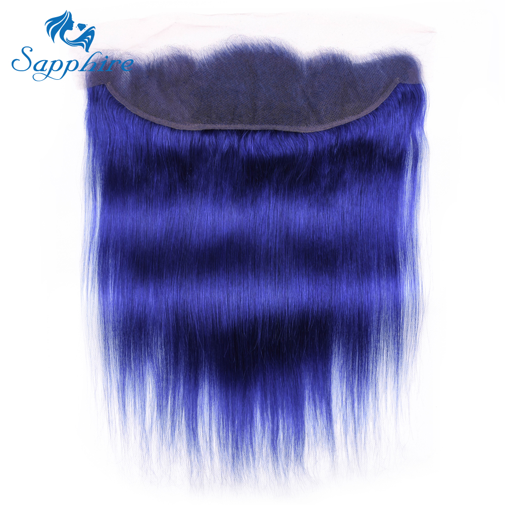 Sapphire Pure Blue Color Peruvian 13*4 Human Hair Lace Frontal Peruvian 13*4 Lace Closure Frontal with Baby Hair For Hair Salon