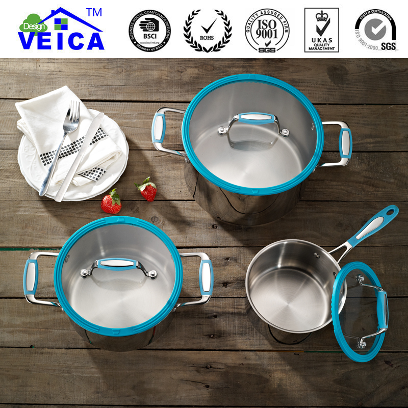 2019 New 3pcs Eco friendly Lfgb Induction Stainless Steel Cookware Casserole With Strainer Lids Stylish Home Cooking Tools - 3