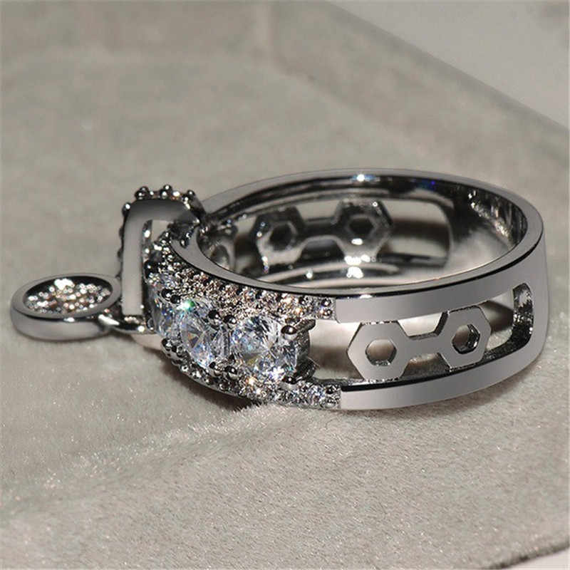 HOMOD 2019 Luxury White Zircon แหวนหมั้น Vintage Rose Gold Filled งานแต่งงานแหวนแฟชั่นเครื่องประดับ