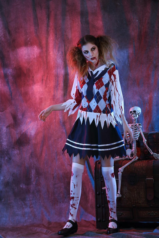 Horrible Bloody Halloween Cosplay The Walking Dead Costume High School Girls Female Zombie Fancy Dress