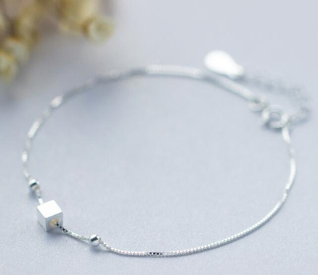 (So Thin) 100% Real. 925 Sterling Silver Fine Jewelry Geometric Square Cube &Beads Anklet Bracelet GTLS509