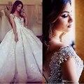 Luxo vestido de Baile Vestidos de Casamento 2016 Vestidos Modest Frisada Lace Weddingdress Cristal Nupcial Do Casamento Da Noiva Do Vintage