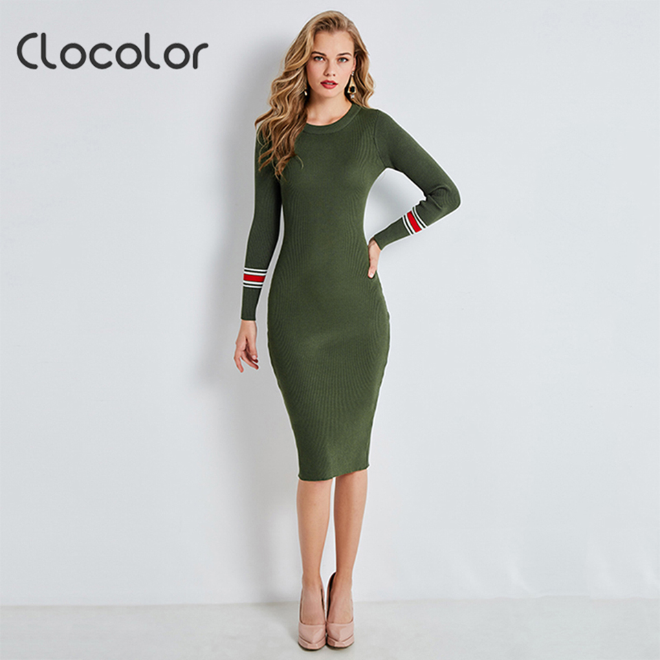 Clocolor Women Bodycon Dress Round Neck Dress Knitted Long Sleeve Red Green Knitted Knee Length Autumn 2018 Women Sweater Dress