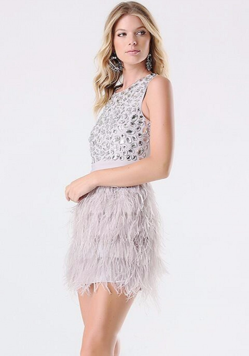 New-Mini-Skirts-Charming-Short-Feathers-Prom-Dress-Sweet-Above-Knee-Crystal-Dinner-Party-Dress-Scoop (2)