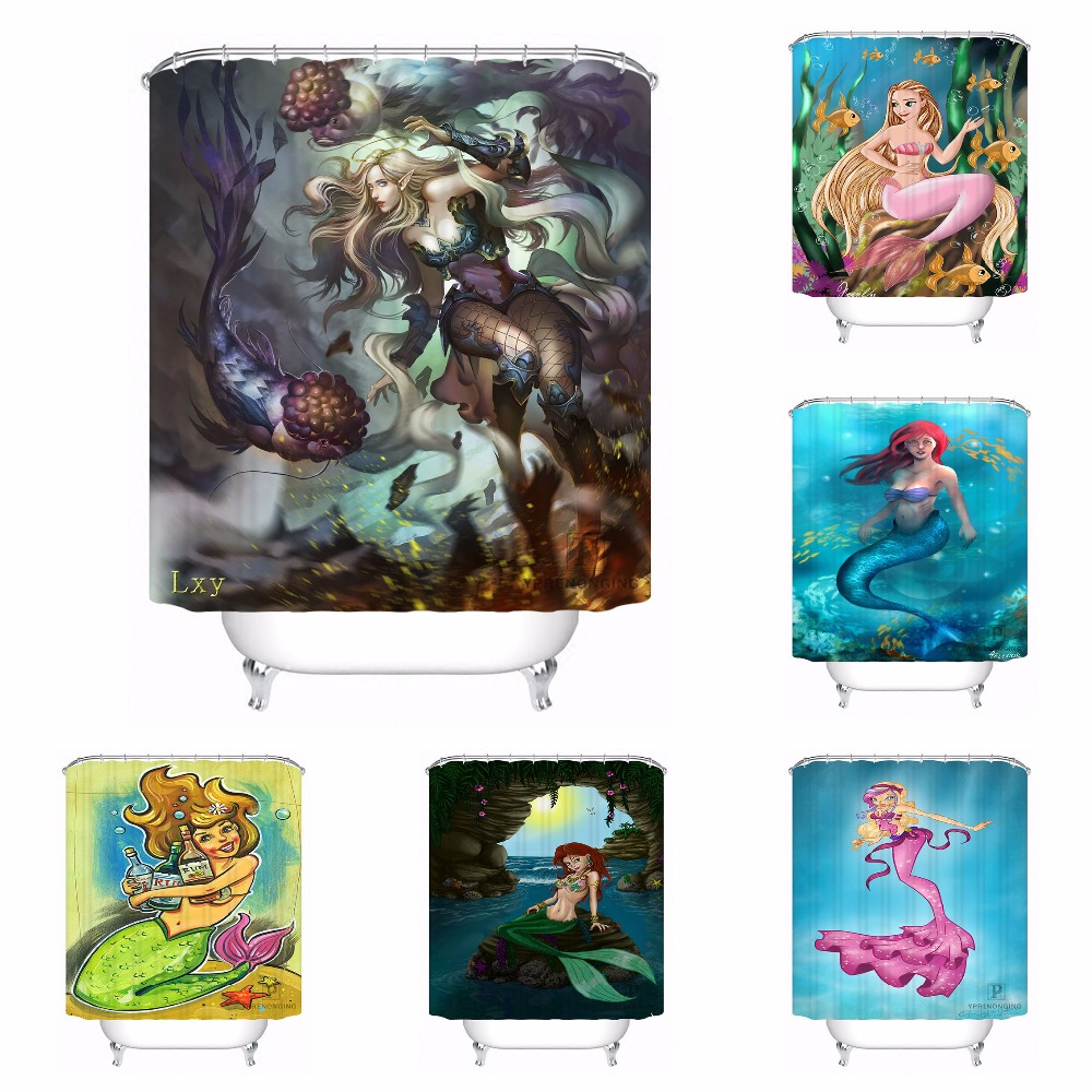 Custom Mermaid Bathroom Acceptable Shower Curtain Polyester Fabric Bathroom Curtain #180318-37-36