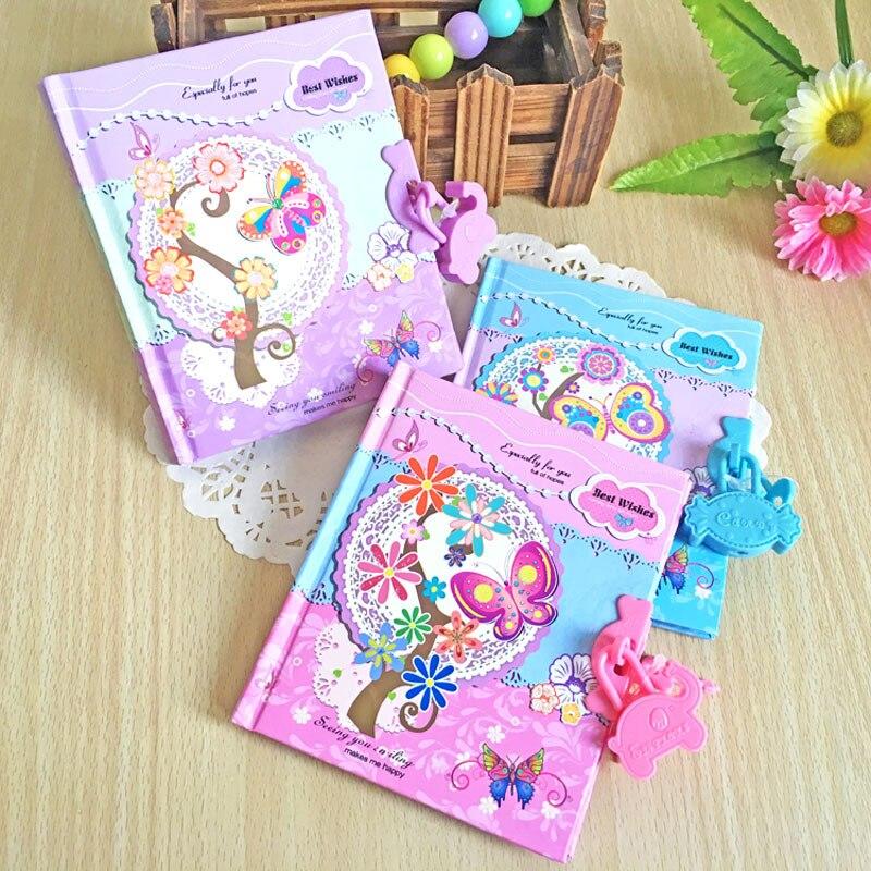 Novo Criativo das Crianças Kawaii Caderno Duro Notebook Senha Diário Estudante Pode Bloquear Mini Bloco de Notas Dos Desenhos Animados Presente Cor Aleatória 1PC