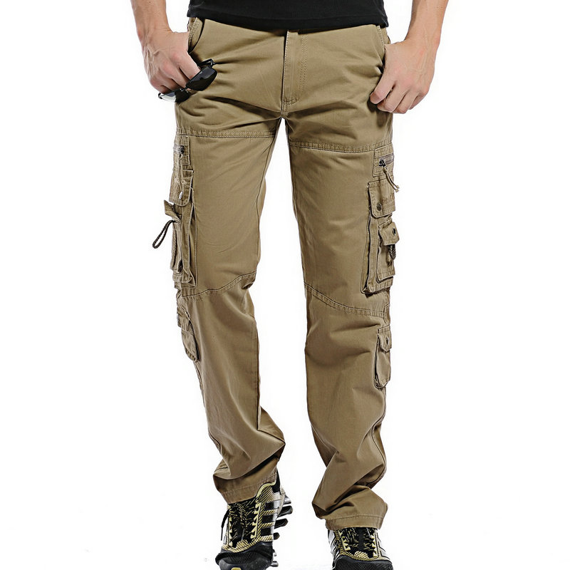 2018 Top Fashion Solid Cotton Cargo Pants Men Casual Slim Workout Men Trousers Multi pocket-in ...