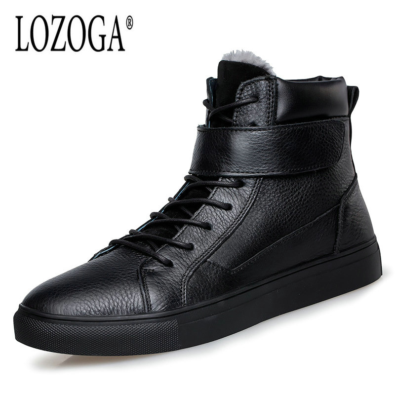 LOZOGA New Autumn Winter Men Boots Big Size 48 Boots With Fur Genuine Leather Boots Keep Warm Fashion Lace-Up Ankle Snow Boots roxdia new fashion genuine leather winter men ankle boots man warm snow boot fur work lace up shoes plus size 39 44 rxm474