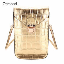 Osmond Small Gold Bags For Women Crocodile Leather Shoulder Bag Mini Crossbody Bags Female Handbag Clutch Purse Phone Pockets(China)