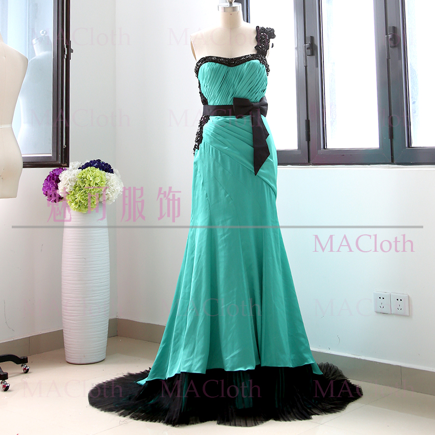 Turquoise Sheath One Shoulder Floor-Length Crystal Satin Prom Party Formal Evening Dress L 260653