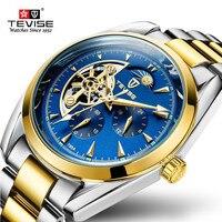 TEVISE Fashion Men Sport Automatic Watches Tourbillon Stainless Steel Watch Men Mechanical Parnis Relogio Clock pilot watch