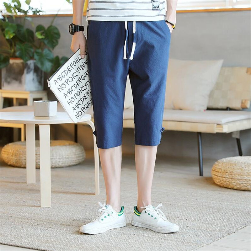 Summer 2019 Jogger Sporting Thin Pants Men Male Cotton Linen Elastic Waist Fitness Pants Workout Large Size M-6XL 7XL Regullar