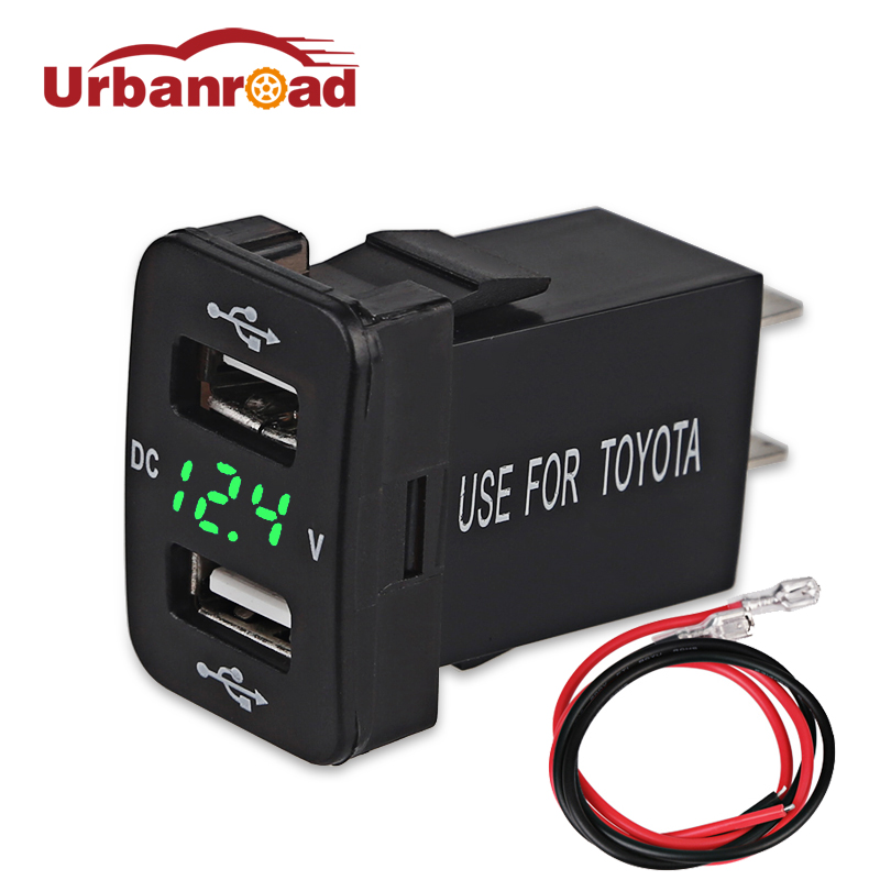Urbanroad 4.2A Dual USB Socket Car Charger Cigarette Lighter Power Adapter For Toyota USB 12v Socket Voltage Meter Voltmeter стоимость